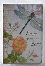 Roman Love Grows Here Dragonfly Wall Plaque 10 inch Nib