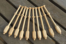 Square Binche Lace Bobbins - ten light wood Continental bobbins