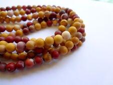 6mm Matte Round Natural Australian Mookaite Gemstone Beads -  Half Strand