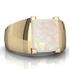 14K Yellow Gold Natural Ethiopian Opal Gem Stone Men's Ring