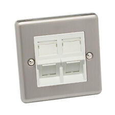 Cat 6 RJ45 Angled Wall Plate Single Gang Brushed Chrome Raised Plate White Cat 6