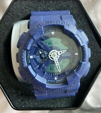 $160 Casio  G-Shock Heathered Blue Dial Resin Quartz Men's Watch GA110HT-2A