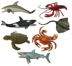 NEW PLASTIC MODEL SEA CREATURE TOY SET OF 7 ANIMALS PARTY BAG STOCKING FILLERS