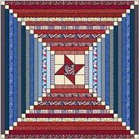 Quilt Kit Patriotic Courthouse Steps/ Beginner Strip Quilt/Bright