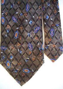 "Villa Bolgheri Men's Silk Floral Neck Tie Brown Classic Made in Italy 3 7/8""x59"""