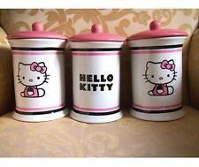 3 X HELLO KITTY HEAD PINK KITCHEN CANISTERS TEA COFFEE SUGAR UTENSIL HOLDER JARS
