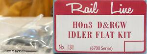Rail Line HOn3 #131 D&RGW IDLER FLAT KIT (Plastic Kit) 6700 Series