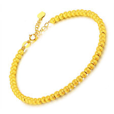 New 24K Yellow Gold Bracelet Lucky Frosted Round Beads Link Chain Adjustable