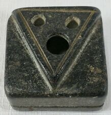 Antique 19th Century Primitive Carved Soapstone Inkwell And Quill Holder