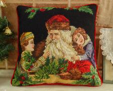 "14"" Handmade Needlepoint Xmas Pillow Cushion Santa & Children"