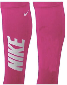 NIKE Pro Solid Logo Calf Sleeve Pair Pink White NEW Womens XS / S