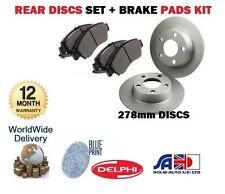 FOR NISSAN PRIMERA P11 1996-2002 NEW REAR 278mm BRAKE DISCS SET + DISC PAD KIT