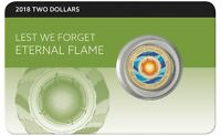 2018 $2 ETERNAL FLAME LEST WE FORGET Coin on Card