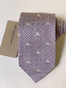 "NEW Burberry Taro White Plaid Mans 100% Silk Tie Authentic Italy 3.5"" 0350470"