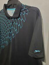 Slazenger Mens Golf Shirt XXL Short Sleeve Casual Pull Over Sport Polo Black