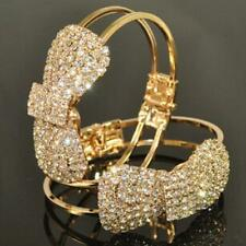 Adjustable Gold Plated Cuff Chain Bow-knot Crystal Bracelet