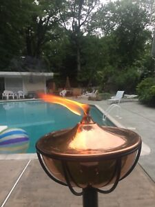 Copper Bowl Garden Torch