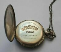 Antique DOXA Pocket Watch Double-Hunter .800 SILVER Ornately Engraved Case Works