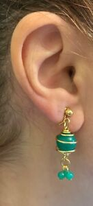 Pair Of Green Dangle Clips  Earrings With Swirl Gold Tone Metal