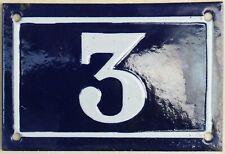 Old blue French house number 3 door gate plate plaque enamel metal sign c1950