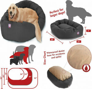 Majestic Pet Poly-Cotton Bagel Dog Bed for Dogs & Cats, Calming 40-Inch, Gray