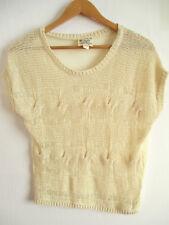 Womens crochet blouse L LARGE sheer knit top scoop neck beige