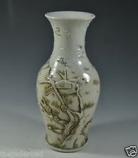 Excellent Ancient Chinese White Porcelain Carving Magpie On A Plum Tree Vase