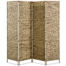 4 Panel Room Divider Privacy Screen Dressing Area Water Hyacinth Woven Style