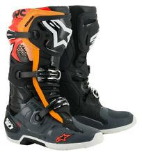 2020 Botas Alpinestars Tech 10 Motocross Carrera Negro Gris Naranja Flo Rojo Adultos
