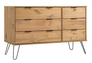 Industrial Wooden Chest of 3 Drawers Wide Cabinet Organiser Bedroom Storage Unit