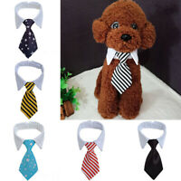 Pet Dog Cat Striped Bow Tie Collar Adjustable Neck For Party Decor