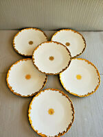 Antique T& V Limoges Plate with Gold pattern Set of 6 ~ 8.5'' W