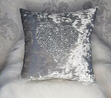 Crushed Velvet inicial Personalizado Cojín de plata y plata brillo