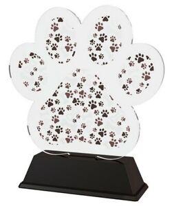 DOG SHOW PAW PRINT TROPHY COLOUR ACRYLIC UNIQUE *FREE ENGRAVING* 95mm - 4 SIZES.