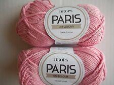 Drops Paris Uni Colour 100% cotton yarn, light pink, lot of 2 (82 yds each)