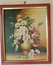 Still life flowers in vase painting oil on cardboard with frame signed vintage