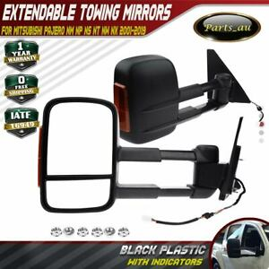 2x Power Extendable Towing Mirrors w/ Indicator for Mitsubishi Pajero 2001-2019