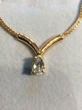 GOLD TONE WITH REAL CUBIC ZIRCONIA DETAILED NECKLACE