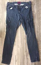 Women's Plus Size Torrid Denim Gray Denim Cargo Pocket Skinny Jeans 18