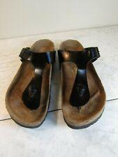Birkenstock Gizeh Black Leather T- Strap Thong Sandal Slip On Women's  5.5 EU 36