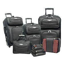 Traveler Choice Gray Amsterdam 8pc Luggage Expandable Suitcase Packing Cubes Set