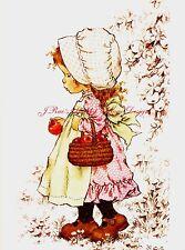 Sweet Little Girl w Basket of Apples Sarah Kay Print Fabric Block 5x7