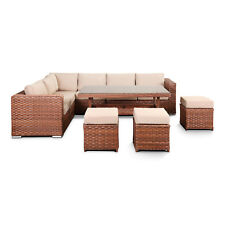 Brown Rattan Corner Sofa Garden Furniture Set with Dining Table Set 9 Seater