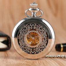 Hot Vintage Mechanical Hand-winding Silver Skeleton Men Women Pocket Watch Chain