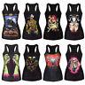 Women Girls Tank Top Vest Print Sleeveless Blouse Gothic Punk Clubwear T-Shirt