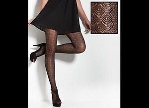 CALVIN KLEIN Lacey Geometric Sheer Tights Pantyhose Control Top A48 Size B Black