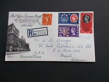 1961 Post Office Savings Bank First Day Cover with Hants Cds + Tripoli & Beirout