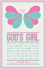 GOD'S GIRL Pink Butterfly (1 Peter 3:3-4) Christian Inspirational Poster