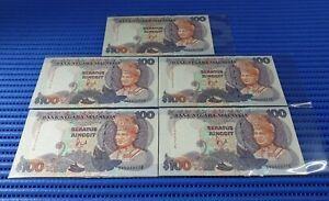 Error 5X Malaysia $100 Seratus Ringgit Note ZV 5946732-6 Run US Banknote Company