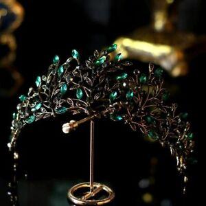 Black Bronze And Green Leaf Crystal Bridal Crown Tiaras Wedding Hair Accessories